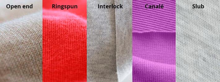Diferentes tejidos en la camisetas